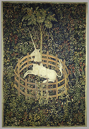 Unicorn behind Fence